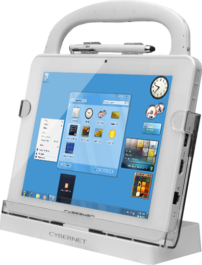 CyberMed T10C Medical Tablet in its Docking Station with Active Digitizer Stylus