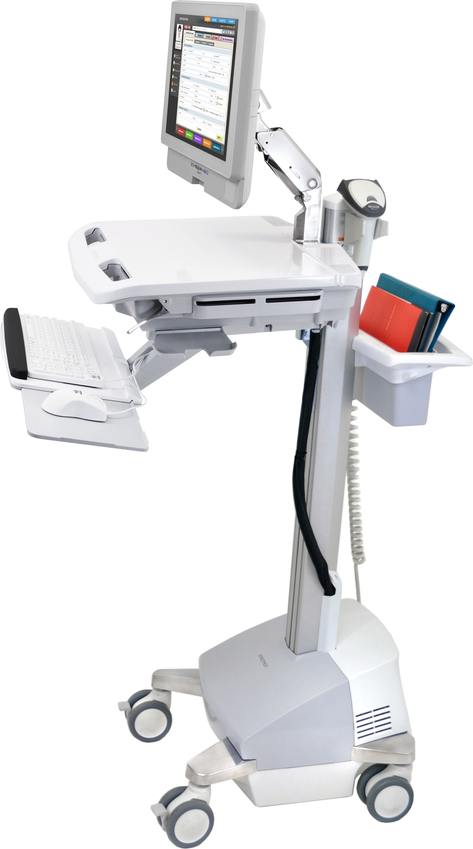 SV42-42221 Electronic Medical Record Cart with LCD Arm, Powered