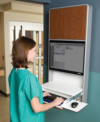 Wall Cabinet Workstation with Lock in use