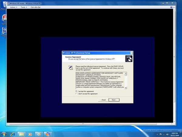 Setting Up Windows XP Mode on Windows 7 Enabled
