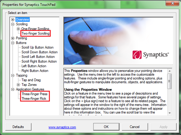 Synaptics Properties Windows